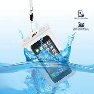 "Universal Waterproof Case, JOTO Cell Phone Dry Bag for Apple iPhone 6S 6,6S Plus, 5S 5, Samsung Galaxy S6, Note 5 4, HTC LG Sony Nokia Motorola up to 6.0"" diagonal (White)"