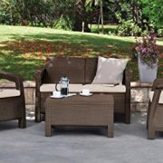 Keter Corfu Love Seat All Weather Outdoor Patio Garden Furniture w/ Cushions, Brown