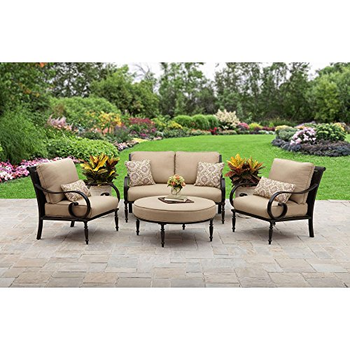 Better Homes and Gardens Englewood Heights II Aluminum 4-Piece Patio Conversation Set, Seats 4