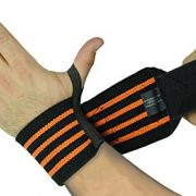 "Deluxe Wrist Wraps 13"" Long (1 Pair /2 Wraps) for WEIGHT LIFTING TRAINING WRIST SUPPORT COTTON WRAPS GYM BANDAGE STRAPS Orange"