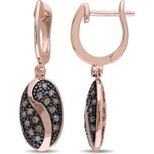 1/3 Carat T.W. Brown Diamond Pink Rhodium-Plated Sterling Silver Dangle Earrings