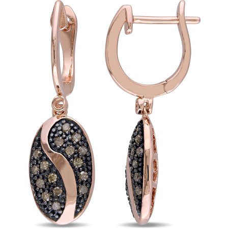 1/3 Carat T.W. Brown Diamond Pink Rhodium-Plated Sterling Silver Dangle Earrings