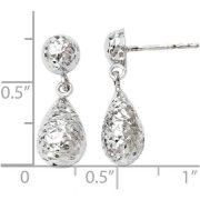10kt White Gold Diamond-Cut Post Dangle Earrings 1