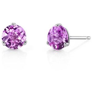 Oravo 2.25 Carat T.G.W. Round-Cut Created Pink Sapphire 14kt White Gold Stud Earrings