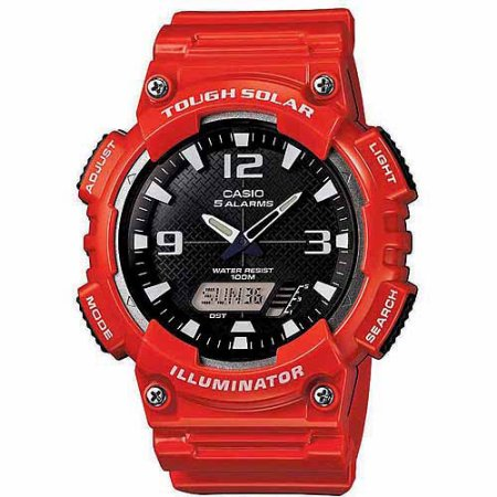 Casio Men's Solar Sport Combination Watch, Red Glossy Resin Strap