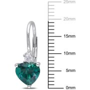 2-1/5 Carat T.G.W. Created Emerald and Created White Sapphire Sterling Silver Heart Leverback Earrings 2