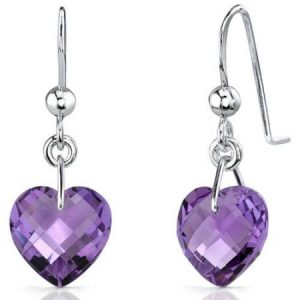 Oravo 6.50 Carat T.G.W. Heart-Shape Amethyst Rhodium over Sterling Silver Drop Earrings