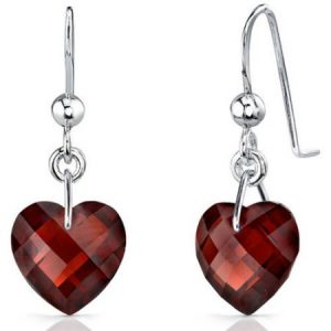 Oravo 9.00 Carat T.G.W. Heart-Shape Garnet Rhodium over Sterling Silver Drop Earrings