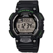 Casio Men's Solar Powered Runner Watch with Black Resin Strap with Yellow Accents