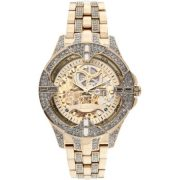 Elgin Men's Crystal Bezel Transparent Automatic Skeleton Watch, Gold