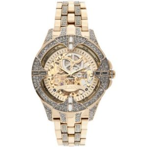Elgin Men's Crystal Bezel Transparent Automatic Skeleton Watch, Gold