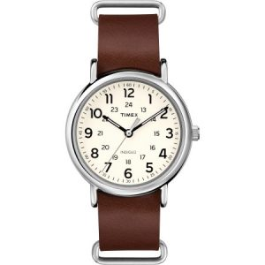 Timex Weekender 40 Watch, Brown Double-Layered Leather Slip-Thru Strap