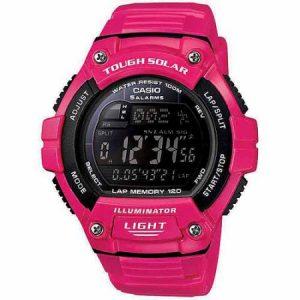 Casio Unisex Solar Multi-Function 120-Lap Runner Watch, Pink Glossy Resin Strap