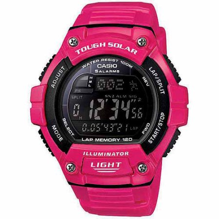 Casio Unisex Solar Multi-Function 120-Lap Runner Watch, Pink Glossy Resin Strap