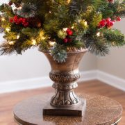 National Tree Pre-Lit 5' Crestwood Spruce Entrance Artificial Christmas Tree with Silver Bristle, Cones, Red Berries and Glitter in a Plastic Bronze Pot with 150 Clear Lights 1