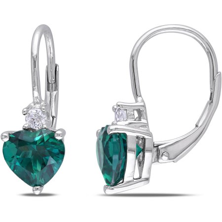 2-1/5 Carat T.G.W. Created Emerald and Created White Sapphire Sterling Silver Heart Leverback Earrings