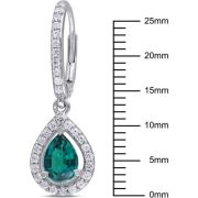 1-7/8 Carat T.G.W. Created Emerald and Created White Sapphire Sterling Silver Teardrop Leverback Earrings 1