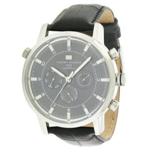 Tommy Hilfiger Black Leather Chronograph Mens Watch 1790875