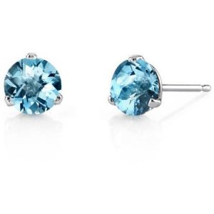 Oravo 2.00 Carat T.G.W. Round-Cut Swiss Blue Topaz 14kt White Gold Stud Earrings