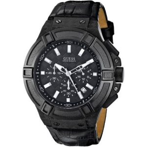GUESS Black Leather Chronograph Mens Watch U0408G1