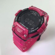 Casio Unisex Solar Multi-Function 120-Lap Runner Watch, Pink Glossy Resin Strap 1