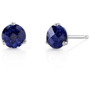 Oravo 2.25 Carat T.G.W. Round-Cut Created Blue Sapphire 14kt White Gold Stud Earrings