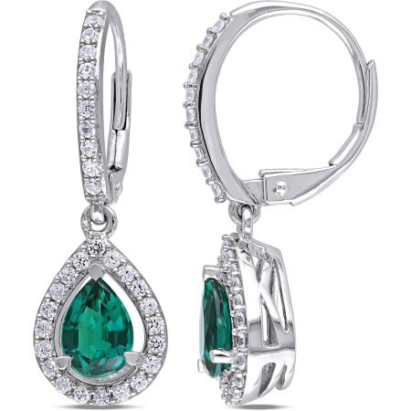 1-7/8 Carat T.G.W. Created Emerald and Created White Sapphire Sterling Silver Teardrop Leverback Earrings