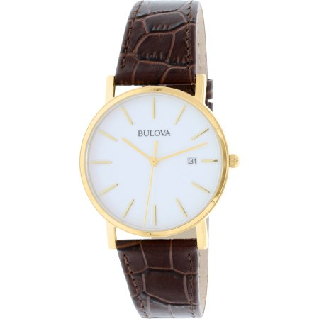 Bulova Men's 97B100 Brown Leather Quartz Dress Watch