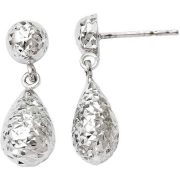 10kt White Gold Diamond-Cut Post Dangle Earrings