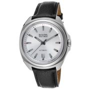 Bulova Men's AccuSwiss Telc 40mm Black Leather Band Steel Case Automatic Silver-Tone Dial Watch 63B184