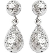 10kt White Gold Diamond-Cut Post Dangle Earrings 2
