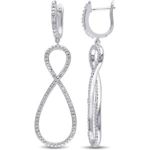 Miabella Diamond Accent Sterling Silver Infinity Drop Earrings