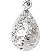 10kt White Gold Diamond-Cut Post Dangle Earrings 3
