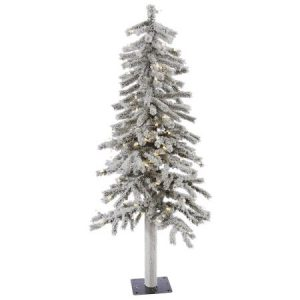 Vickerman Pre-Lit 4' Flocked Alpine Artificial Christmas Tree, LED, Warm White Lights