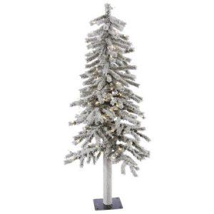 Vickerman Pre-Lit 4' Flocked Alpine Artificial Christmas Tree, LED, Warm White Lights