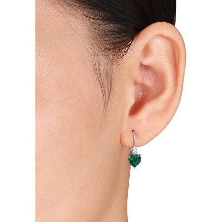 2-1/5 Carat T.G.W. Created Emerald and Created White Sapphire Sterling Silver Heart Leverback Earrings 1