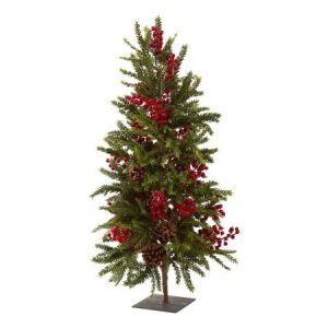 "Nearly Natural 36"" Pine and Berry Christmas Tree"