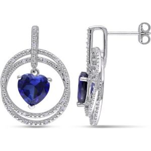 4-1/2 Carat T.G.W. Created Blue Sapphire and 1/6 Carat T.W. Diamond Sterling Silver Heart Earrings