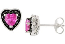 1 Carat T.G.W. Created Pink Sapphire and 1/8 Carat T.W. Black Diamond Sterling Silver Heart Stud Earrings