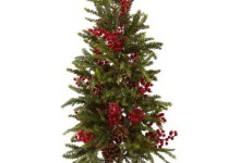 Nearly Natural 36″ Pine and Berry Christmas Tree 1