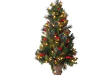 National Tree Pre-Lit 5′ Crestwood Spruce Entrance Artificial Christmas Tree with Silver Bristle, Cones, Red Berries and Glitter in a Plastic Bronze Pot with 150 Clear Lights 3