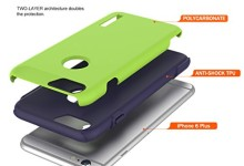 iPhone 6S Plus Case, TOTU Scratch Resistant Thin Armor Dual Layer Protective Hybrid Case Shock Absorbing Technology Case for Apple iPhone 6 plus (2014) and iPhone 6S Plus (2015) – Lime Green/Blue