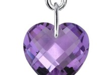 Oravo 6.50 Carat T.G.W. Heart-Shape Amethyst Rhodium over Sterling Silver Drop Earrings 1