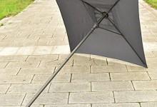 UBRTools 6PCS Patio Garden Set Furniture 4 Folding Chairs Table with Umbrella Gray New