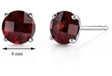 Oravo 2.25 Carat T.G.W. Round-Cut Garnet 14kt White Gold Stud Earrings 2
