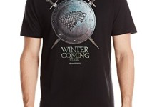 HBO'S Game Of Thrones Men's Stark Winter Is Coming Shield Short Sleeve T-Shirt, Black, Small