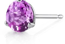 Oravo 2.25 Carat T.G.W. Round-Cut Created Pink Sapphire 14kt White Gold Stud Earrings 1