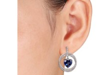 4-1/2 Carat T.G.W. Created Blue Sapphire and 1/6 Carat T.W. Diamond Sterling Silver Heart Earrings 2