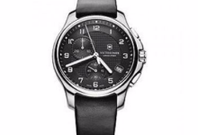 Swiss Army Victorinox Officers Leather Chronograph Men's Watch, 241552.1 3