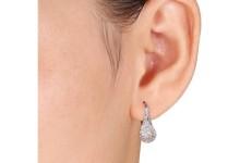 Miabella 1/4 Carat T.W. Diamond Sterling Silver Double Halo Earrings 2